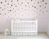 Gold Confetti Polka Dot Wall Decals, Mixed Size Polka Dot Decals, Easy Peel and Stick Decals, Gold Polka Dot Decals