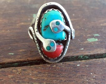 Vintage NAtive American Effie C. Zuni 925 Sterling Turquoise Coral Double Snake Men's Ring sz 9 1/4