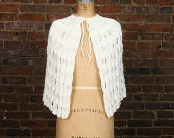 SALE Vintage 1940s Crochet Sweater Cape 40s Knit 1950s Spring Jacket 50s Cardigan Snow Bunny Poncho Top White Caplet Shawl