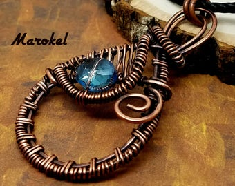 Cobalt Crystal Wire Weave Necklace Copper Wire Oxidized Wrapped AB Crystal Abstract Royal Blue
