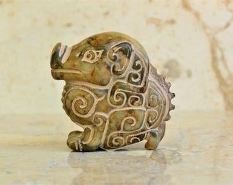 Antique Jade Pig Nephrite Figurine Statue