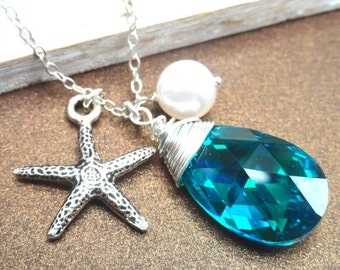 Christmas Sale Starfish Charm Swarovski Crystal Necklace Blue Zircon Teardrop And Pearl Sterling Silver Necklace