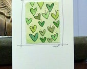 "Green Hearts  Watercolor Card ""Small Card"" 3.5 "" x 4.75""  Stramore Canvas Card betrueoriginals"