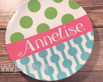 Personalized Plate -Polka Dot Plate - Plate - Bowl - Child Birthday Gift - Personalized Toddler Gift - Girl Birthday Plate