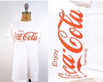 SALE vintage RARE white COKE coca-cola Tee shirt S-M