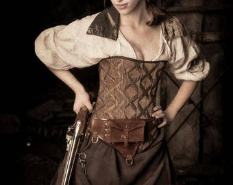 Corset, Brown with Gold, Steampunk, Victorian, Pirate, Renaissance