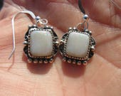 SPARKLEY SENSATIONS to SAVER - Sterling Silver Mexican White Opal Earrings