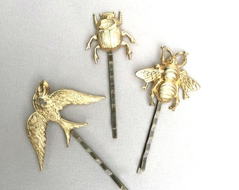 Birds & Bees Bobby Pin Set Bug Hair Clips Bird Bee Bug Entomology Honeybee Summer Garden Wedding Gold Fairy