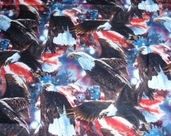 Patriotic Red Blue White American Flag and Eagle 100% Cotton Fabric 1/2 Yard