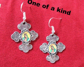 Our Lady of Guadalupe earrings CROSSES mexico folk art catholic virgen mexicana Virgen morena