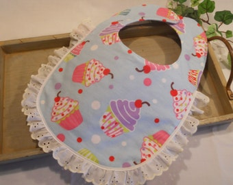 "BABY BIB...Soft Flannel...In ""I Love Cupcakes"""