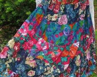 Vintage Swing dress, COTTON PATCHWORK dress, ladies medium, vintage 1980s 80s dress, Indian Cotton dress, boho CIRCLE Skirt Dress