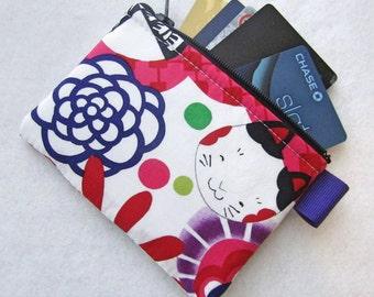 Kaori Kokeshi Womens Credit Card Case Zippered Coin Purse Wallet Business Card Holder Japanese Cat Fabric Alexander Henry Pink Purple Lime