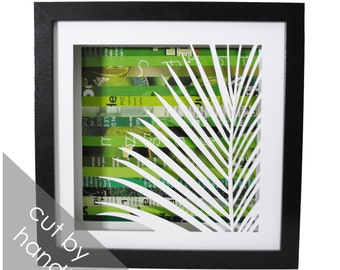 botanical leaf shadowbox- made from recycled magazines, beach, jungle, botanical,branch,leaves,green, delicate hand cut, modern, design,bold