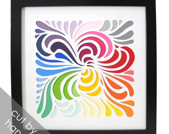 COLORFUL swirls shadowbox- hand cut, made from paint swatches, delicate, black frame, modern decor, interior design, square, paper cutting