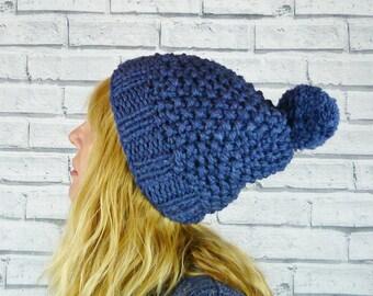 Hand knitted Bobble Hat - Luxury merino wool and silk - Navy