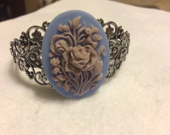 Vintage style cuff bracelet flower and rose aaa41