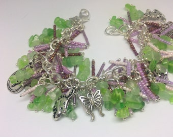 Crafted Beaded charm bracelet with purple and greens ChaCha A6