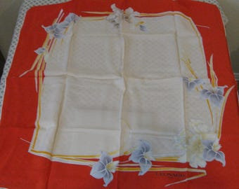 New Old Stock in the BOX Leonard Paris Floral Orchid Silk Scarf UNUSED 35 by 35 inch Made in Italy
