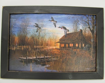 Cabin Wall Decor,Ducks,Cabin,Hunting,Handmade Distressed Frame,Jim Hansel,201/2x141/2,Passing Through