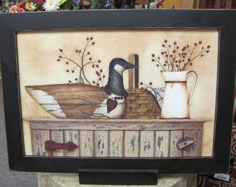 """Primitive Art,Duck And Berry Still Life,Country Home, Primitive Wall Decor,Handmade Distressed Frame,201/2""""x141/2"""""""