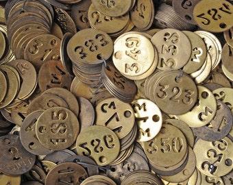 Set of 20 Vintage brass factory token with numbers,  random picks