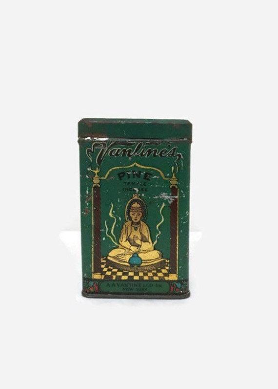 Vintage Vantine's Pine Incense Tin - Buddha Artwork - Burners - 1920s Art Deco