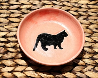 Ceramic CAT Food Bowl - Cat Water Bowl - Handmade Pink Stoneware Bowl with Black Cat Silhouette - Ready To Ship