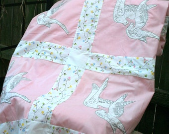 Beautiful Handmade / Hand Appliqued Dove Quilt Top