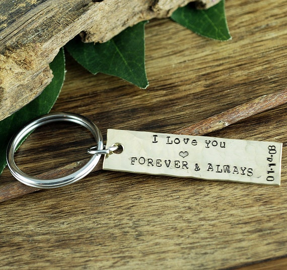Anniversary Keychain, Husband Keychain, Gift for Boyfriend, Gift for Dads, Personalized Keychain, Forever & Always, Gift for Him Her