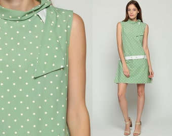 Scooter Dress 60s Mini Mod Polka Dot Drop Waist SKORT 1960s Vintage Sixties Twiggy Go Go Green Sleeveless MiniDress Medium