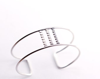 """Parallel wire silver cuff constructed of sturdy sterling wire and accented with flattened strips of beads - """"Parallel Cuff - small"""""""