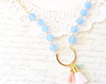 Beaded Tassel Necklace - Gold U Shaped Tassel Necklace - Glass Bead Tassel Necklace - Satin Tassel Necklace - Layering Necklace