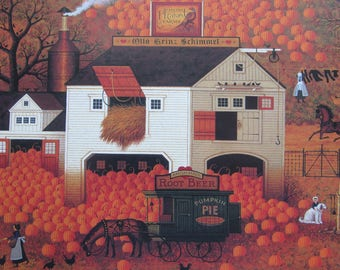 Charles Wysocki, Dancing Pheasant Farm (detail), 1994 Bookplate, Colorplate, Book Page Print, Unframed Print