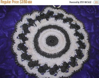SALE- Hand Crocheted Potholder, Cotton, Charcoal and Soft White
