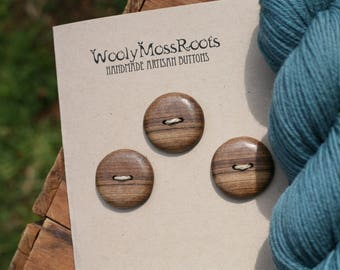 3 Myrtlewood Buttons- Oregon Myrtlewood- Wooden Buttons- Eco Craft Supplies, Eco Knitting Supplies, Eco Sewing Supplies