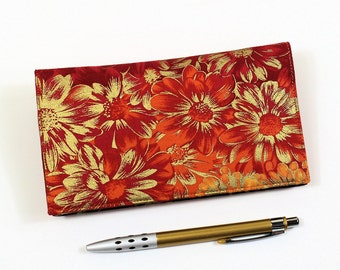 Orange Checkbook Cover for Duplicate Checks with Pen Holder, Gold and Orange Floral Cotton Fabric, Mums the Word Fabric