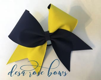 Navy and Yellow Tick Tock Bow