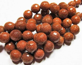 LOOSE Gemstone Beads - Goldstone Beads - 10mm Faceted Rounds - Sparkly Copper Brown (5 beads) - gem909