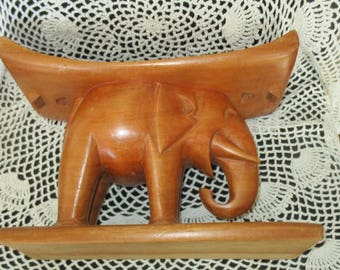 Wood Elephant Headrest Hand Carved Wood Neck Rest Vintage Wood Pillow