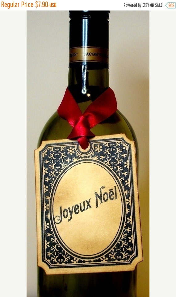 Joyeux Noel Christmas Tags/ French Style Vintage Style Christmas Gift Tags/ Hang Tags/ Bottle Tag for Gift Giving/ SET of 6