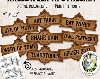 Halloween Apothecary Labels Printable Potion Labels Digital Download Halloween Clip Art