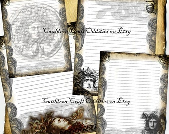 Medusa Parchment lined Digital 4 Page Set - Monster Horror Halloween Spell Book, Scrapbook Paper, Book of Shadows, Graphics, Wiccan