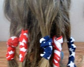 Dread Wraps  American Flag Bandana Print, Ponytail Wraps, Dread Accessories, Wired Dread Holders, PonyTail Twist, Hair Accessories, Set of 5