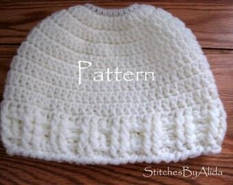 Messy Bun Hat Pattern, Bun Hat Crochet Pattern, Crochet Pattern EASY, Summer Messy Bun Beanie, Crochet Bun Hat, Ponytail Hat Pattern