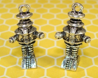 2 Robot Charms Pewter Silver Space Robot (31513) Area 51 Alien UFO Outer Space Retro Robot Geekery Jewelry Supplies Pendants Big Bang