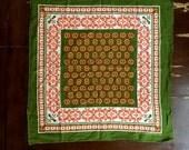 Vintage OLIVE Green & ORANGE Floral Cotton Scarf / 60s 70s Head Scarf Neckwear / 20 X 20