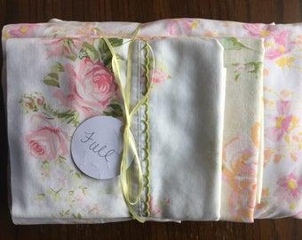 Vintage Remixed Full sheet set in pastel pink flowers / full flat sheet / full fitted sheet / vintage pillowcases