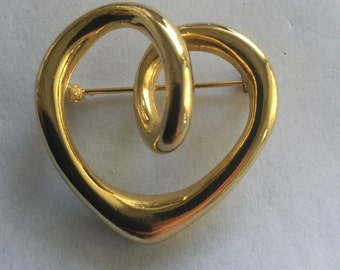 Vintage Modernist Heart Pin Valentines Day