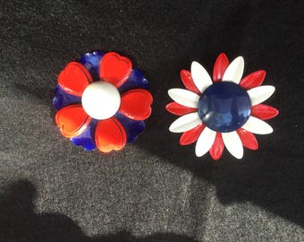 Two Patriotic Red White Blue Enamel Flower Pins